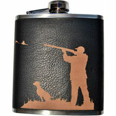6oz Black Leather Steel Shooting Scene Hip Flask