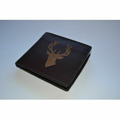 Stag Head Brown Leather Engraved with Coin Pocket Wallet