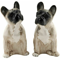 Quail Ceramics French Bulldog Salt and Pepper Shaker Pots - Fawn