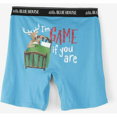 Hatley I'm Game If You Are Blue Men's Boxers