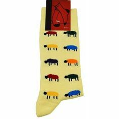 Colourful Sheep on Yellow Socks