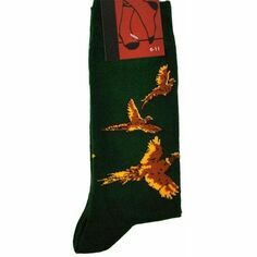 Pheasants Flying on Green Socks
