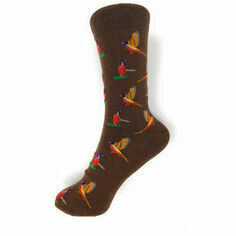 Tie Studio Pheasants on Brown Socks