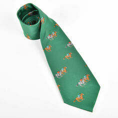 Horses Racing on Green Polyester Tie