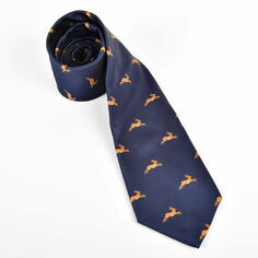 Hares Running on Navy Polyester Tie