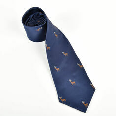 Stags on Navy Polyester Tie