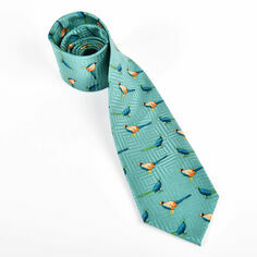 Pheasants Standing on Green Silk Tie