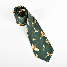 Pheasants Flying on Green Silk Tie