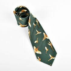 Pheasants Flying on Green Silk Tie