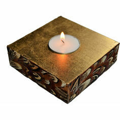 24 Carat Gold Leaf and Feathers Candle Holder
