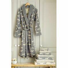 Emily Bond Grey Dachshund Bath Robe