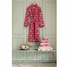 Emily Bond Pink Dachshund Bath Robe