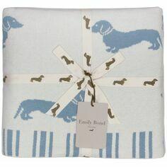 Emily Bond Dachshund Blue & White Knitted Throw