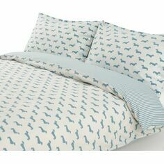 Emily Bond Dachshund Blue Duvet Set