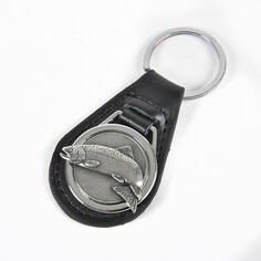 Leather Keyring with Pewter Trout