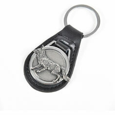 Leather Keyring with Pewter Fox