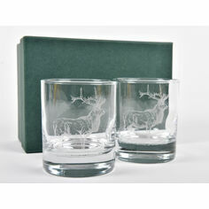 Pair of Red Deer Stag Whisky Glasses