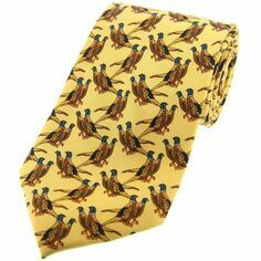 Soprano Yellow Pair of Standing Pheasants Silk Tie