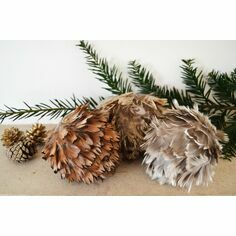 Assortment of 3 Feather Baubles