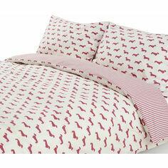 Emily Bond Dachshund Pink Duvet Set