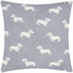 Emily Bond Grey Dachshund Knitted Cushion