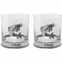 English Pewter Trout Glass Whisky Double Tumbler Set