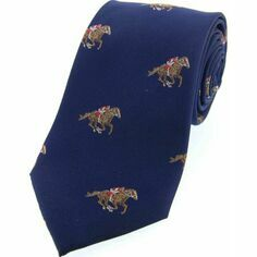 Soprano Navy Blue Horse Racing Woven Silk Tie