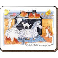 Alison's Animals 'Who left the kitchen door' Coaster