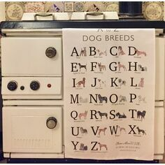 Claire Alice Designs A to Z Dog Breeds Tea Towel