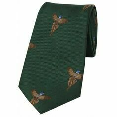 Soprano Green Flying Pheasant Woven Silk Tie