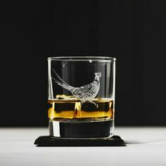 The Just Slate Company Pheasant Engraved Glass Tumbler and Slate Coaster