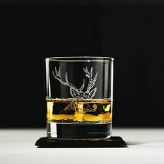 The Just Slate Company Stag Engraved Glass Tumbler and Slate Coaster