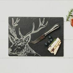 The Just Slate Company Stag Cheese Board & Knife Set