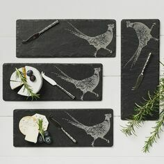 The Just Slate Company 4 Mini Pheasant Cheese Boards & Knife Set