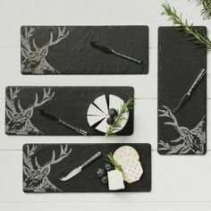The Just Slate Company 4 Mini Stag Cheese Boards & Knife Set