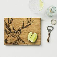 Scottish Oak Stag Cutting Board & Bottle Opener Set