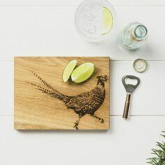 Scottish Oak Pheasant Cutting Board & Bottle Opener Set