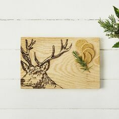 Scottish Oak Stag Serving Board