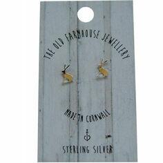 Sterling Silver Hare Mini Stud Earrings
