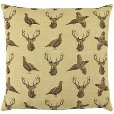 Hines of Oxford Highland Beige Stag and Pheasant Tapestry Cushion