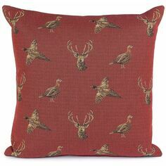 Hines of Oxford Highland Claret Stag and Pheasant Tapestry Cushion