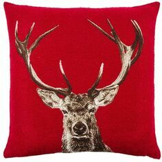 Hines of Oxford Stately Stag Red Tapestry Cushion