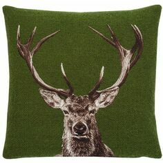 Hines of Oxford Stately Stag Green Tapestry Cushion