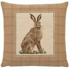 Hines of Oxford Country Hare Left Tapestry Cushion