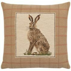 Hines of Oxford Country Hare Right Tapestry Cushion