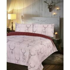 Stag Red Check Duvet Set