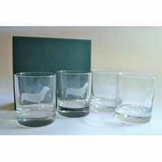 Set of 4 Dachshund Glass Tumblers