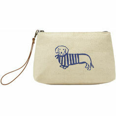 Joules Como Navy Dachshund Clutch Bag