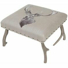 Hines of Oxford Country Linen Stag Antler Stool