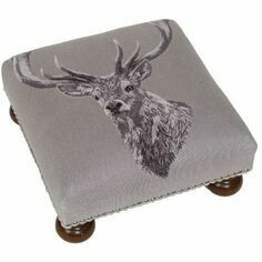 Hines of Oxford Country Linen Stag Footstool